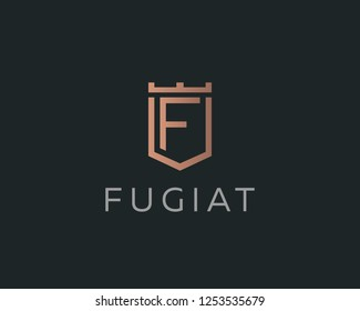 Premium monogram letter F initials logotype. Elegant shield crown vector logo.