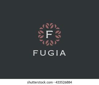 Premium monogram letter F initials logo. Universal symbol icon vector design. Luxury abc leaf logotype.
