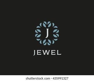 Premium monogram letter J initials logo. Universal symbol icon vector design. Luxury abc leaf logotype.