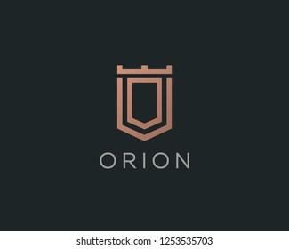 Premium monogram letter O initials logotype. Elegant shield crown vector logo.