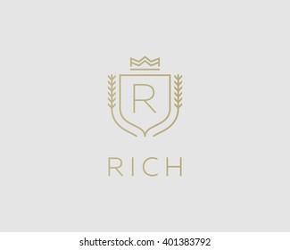 Premium  monogram letter R initials ornate signature logotype. Elegant crest logo icon vector design. Luxury shield crown sign. Concept for print or t-shirt design.