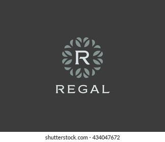 Premium monogram letter R initials logo. Universal symbol icon vector design. Luxury abc leaf logotype.