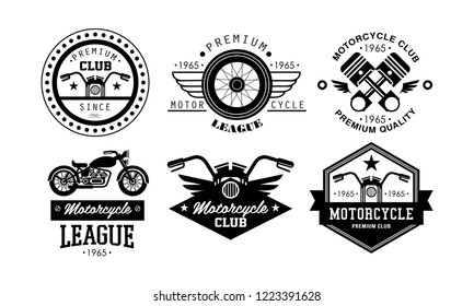 Premium motorcycle league logo set, retro badges for biker club, motorcycle parts store, repair service vector Illustration on a white background