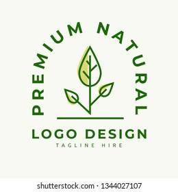 premium natural logo design clean and simple concept