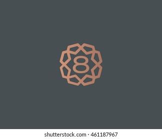 Premium number 8 logo icon vector design. Luxury jewelry frame gem edge logotype. Print figure stamp sign symbol.