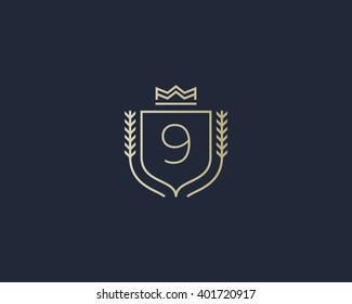 Premium number 9 ornate logotype. Elegant numeral crest logo icon vector design. Luxury figure shield crown sign. Concept for print or t-shirt design.