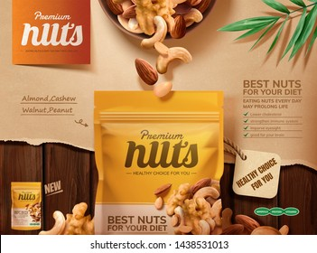 Premium nuts ads on wooden table with torn paper in 3d illustration