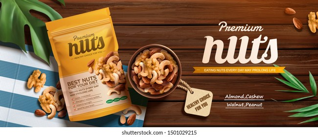Premium nuts banner ads on wooden table in top view perspectives