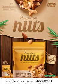 Premium nuts poster ads on wooden table and kraft paper background, 3d illustration