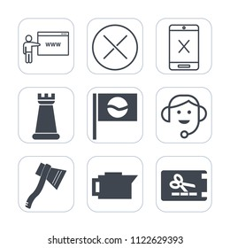 Premium outline, fill icons set on white background . Such as drink, japan, website, sign, subscription, headset, chess, internet, office, axe, asia, cable, coupon, wire, call, tv, no, espresso, cafe