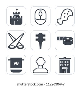 Premium outline, fill icons set on white background . Such as object, scene, sticky, beach, building, play, tape, tool, white, office, estate, beauty, male, snack, bathroom, fast, technology, internet