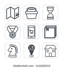 Premium outline, fill icons set on white background . Such as reward, world, food, phone, minute, earth, clock, building, win, chessboard, award, chess, sign, white, europe, game, app, travel, success