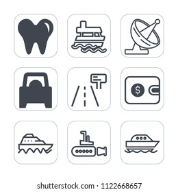 Premium outline, fill icons set on white background . Such as marine, satellite, wireless, dentist, nautical, transportation, dish, undersea, antenna, dental, mouth, traffic, tooth, sign, transport