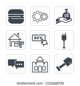Premium outline, fill icons set on white background . Such as bag, currency, money, fast, hand, bubble, sign, cheeseburger, drink, bucket, sack, architecture, speech, medieval, ice, action, property