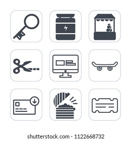 Premium outline, fill icons set on white background . Such as entertainment, door, skater, web, money, grocery, safe, healthy, cart, ticket, fitness, sack, house, key, restaurant, coffee, sign, buy