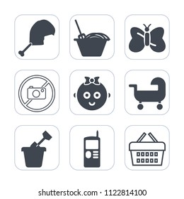 Premium outline, fill icons set on white background . Such as food, shop, chicken, camera, telephone, sale, meat, store, sandbox, beauty, animal, cell, butterfly, sand, phone, childhood, poultry, meal