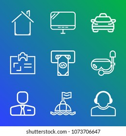 Premium outline set of icons containing cash, snorkel, service, modern, safety, life, taxi, monitor, home, construction. Simple, modern flat vector illustration for mobile app, website or desktop app