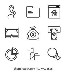 Premium outline set of icons containing road, file, bank, travel, estate, banking, template, magnifying, navigation, gps. Simple, modern flat vector illustration for mobile app, website or desktop app