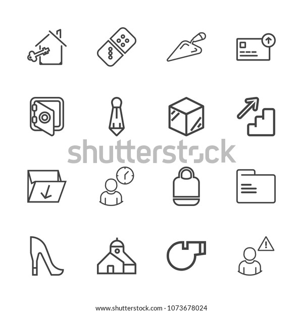 Premium Outline Set Icons Containing Blank Stock Vector (Royalty