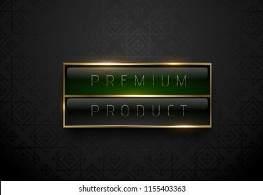 Premium product black green label with golden frame on black geometric background. Dark luxury logo template. Vector illustration