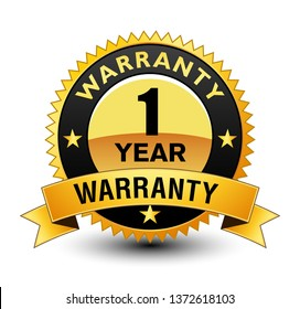 Premium Quality 1 year warranty golden badge Seal Sign Isolated on White Background.