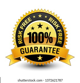Premium Quality 100% risk free golden guarantee badge Seal Sign Isolated on White Background.