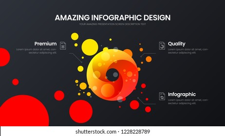 Premium quality 3 option circle marketing analytics presentation vector illustration template. Business data visualization design layout. Amazing colorful round organic statistics infographic report.