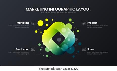 Premium quality 4 option rectangle marketing analytics presentation vector illustration template. Business data visualization design layout. Amazing colorful quad organic statistics infographic report
