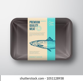 Premium Quality Anchovy. Abstract Vector Fish Plastic Tray with Cellophane Cover Packaging Design Label. Modern Typography and Hand Drawn Anchovy Silhouette Background Layout. Isolated.