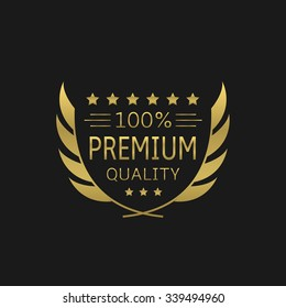 Premium Quality badge. Golden laurel wreath, Vector illustration