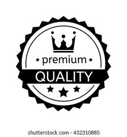 Premium quality badge on white background, rubber stamp award, flat design label - vector illustration