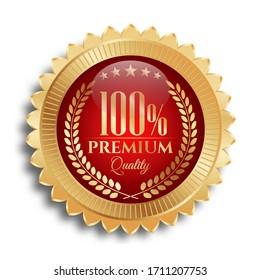 Premium Quality Badges Golden Effect Vector Illustration