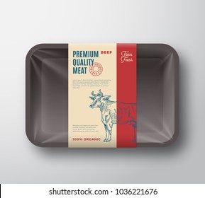 Premium Quality Beef Pack. Abstract Vector Meat Plastic Tray Container with Cellophane Cover. Packaging Design Label. Modern Typography and Hand Drawn Cow Silhouette Background Layout. Isolated.