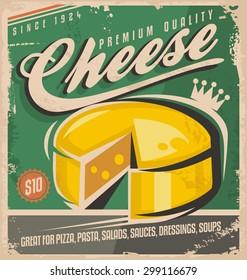 Premium quality cheese retro label design illustration on old paper texture.
