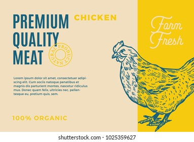 Premium Quality Chicken. Abstract Vector Meat Packaging Design or Label. Modern Typography and Hand Drawn Hen Silhouette Background Layout.