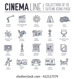 Premium quality cinema industry thin line design set. Filming minimalistic symbol pack. Outline movie technology template of icon, typography, logo, pictogram and illustration concept background