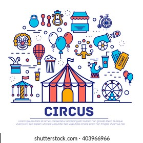 Premium quality circus outline icons infographic set. Festival linear symbol pack. Carnival show template of thin line, logo, symbols, pictogram and flat illustrations vector concept