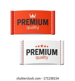 Premium quality clothing label. Vector.