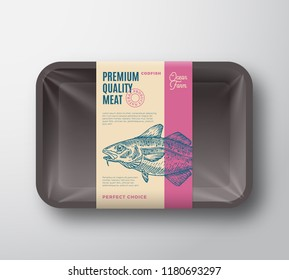 Premium Quality Codfish. Abstract Vector Fish Plastic Tray with Cellophane Cover Packaging Design Label. Modern Typography and Hand Drawn Codfish Silhouette Background Layout. Isolated.