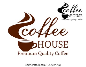 Premium quality coffee retro emblem with cup of coffee and steam, for cafe house and restaurant menu design