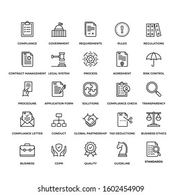 Premium Quality Compliance icon set. This unique style outline icon set contains such icons as Regulations, Rules, Legal system, Rules Standart and so on