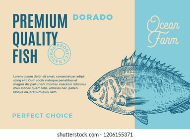 Premium Quality Dorado. Abstract Vector Fish Packaging Design or Label. Modern Typography and Hand Drawn Dorado Silhouette Background Layout.