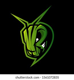 Premium quality esports team mascot grasshopper vector logo isolated emblem. Savage destroyer insect sport logotype label illustration. Amazing gaming warrior hero character t-shirt print design.