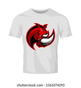 Premium quality esports team mascot rhino vector logo isolated emblem. Savage wild animal sport logotype label illustration. Amazing gaming warrior hero character t-shirt badge print design.