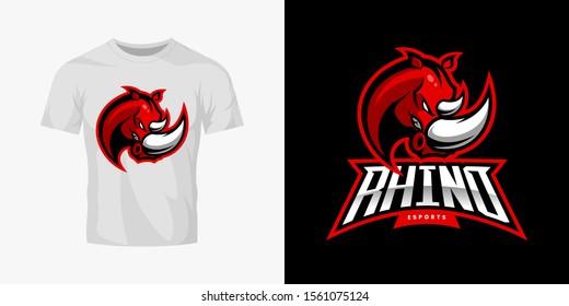Premium quality esports team mascot rhino vector logo isolated emblem set. Savage wild animal sport logotype label illustration. Amazing gaming warrior hero character t-shirt badge print design bundle