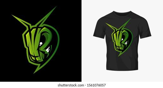 Premium quality esports team mascot grasshopper vector logo isolated emblem set. Savage destroyer insect sport logotype label illustration. Amazing gaming warrior hero character t-shirt print design.