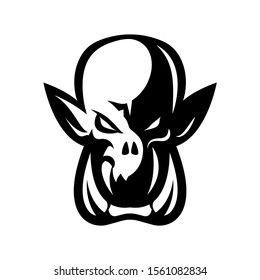 Premium quality esports team mascot ork vector logo isolated emblem. Savage wild destroyer sport logotype label illustration. Amazing gaming warrior hero character t-shirt badge print design.