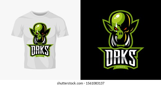 Premium quality esports team mascot ork vector logo isolated emblem set. Savage wild destroyer sport logotype label illustration. Amazing gaming warrior hero character t-shirt badge print design.