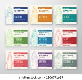 Premium Quality Fish Fillets Labels Collection. Abstract Vector Fish Packaging Design or Cards. Modern Typography and Hand Drawn Fishes Silhouette Background Layout. With Soft Shadows.