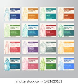 Premium Quality Fish Fillets Labels Big Collection. Abstract Vector Fish Packaging Design or Cards. Modern Typography and Hand Drawn Fishes Silhouette Background Layout. With Soft Shadows. Isolated.